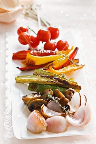 Antipasti vegetables on a serving platter