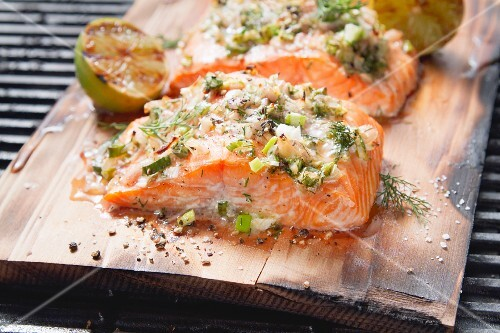 Cedar wood-grilled salmon