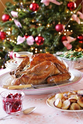 Traditional roast turkey with cranberries and roast potatoes