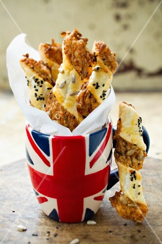 Cheese sticks in a Union jack cup