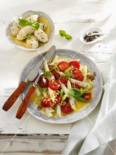 Asparagus and tomato salad with quark and basil dumplings