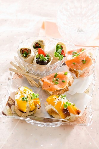 Colourful canapes on a plate