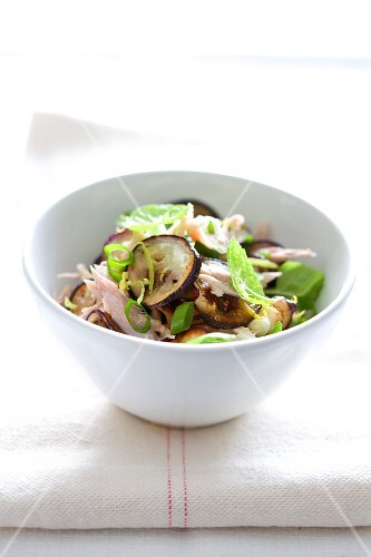 Chicken and aubergine salad