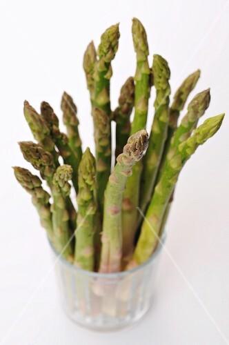 Green asparagus in a jar