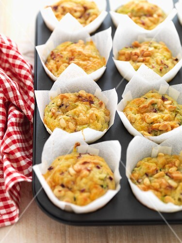 Spicy courgette and cheese muffins in paper cases