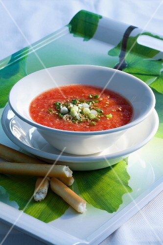 Tomato soup with spring onions and coriander