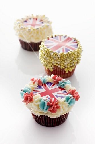Three cupcakes decorated with Union Jacks
