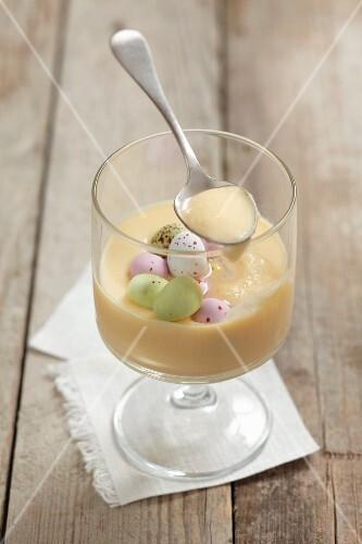 White chocolate cream with sugar eggs