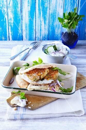 Pita bread with falafel and tzatziki
