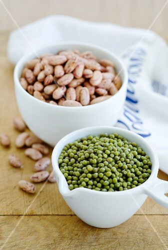 Bowls of mungo beans and pinto beans