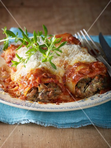 Lasagne made with minced beef and Parmesan on a plate