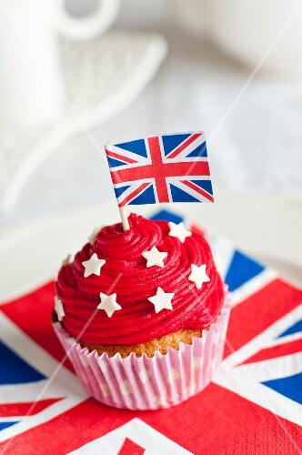 A cupcake decorated with a Union Jack
