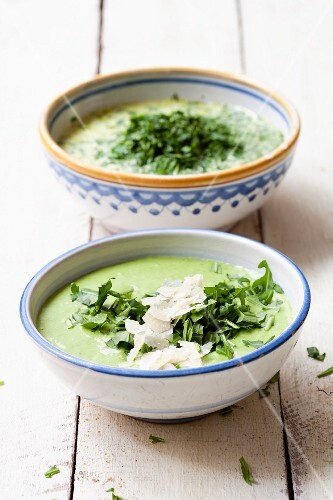Herb soup and rocket soup with Parmesan