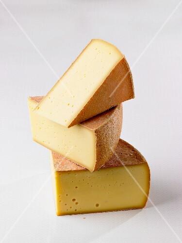 Three slices of mountain cheese