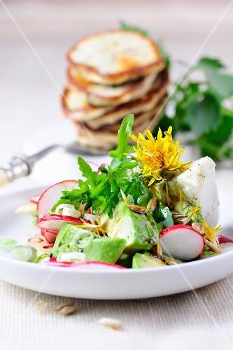 Dandelion salad with avocado, radishes and blinis