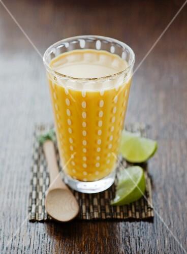 A glass of mango lassi