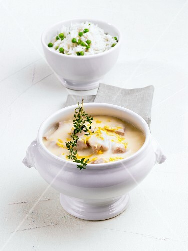 Veal fricassee in a soup bowl