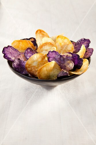 Purple and white potato chips