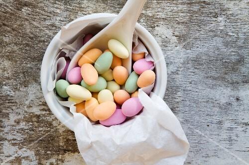 A bowl of sugared almonds