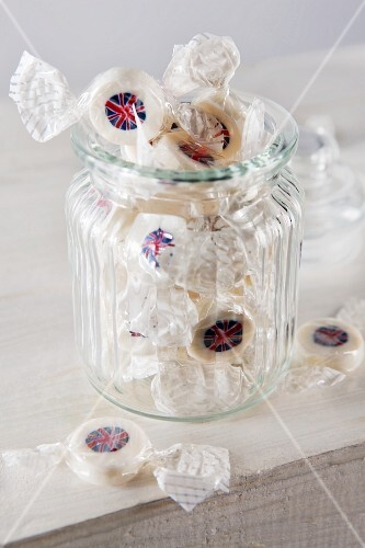 Union Jack bonbons in a jar