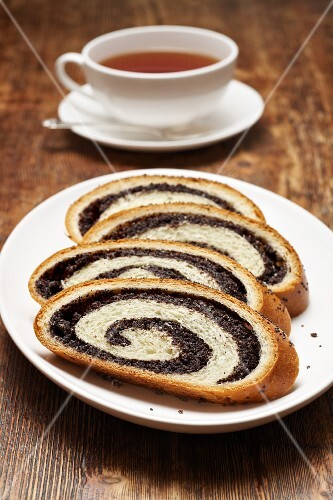 Poppyseed strudel and a cup of tea