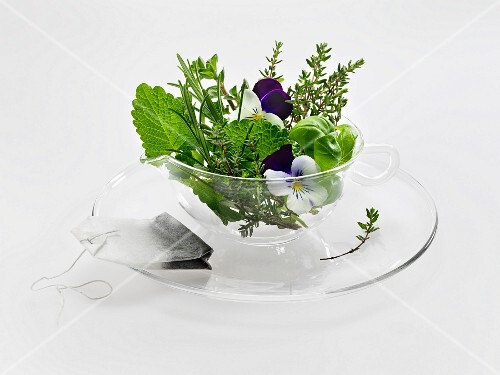 Fresh herbs and a herbal tea bag