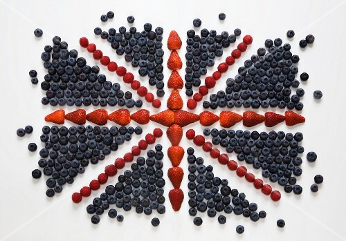Union Jack Flag Made from Strawberries, Blueberries and Raspberries