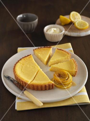 Lemon tart with caramelised lemon slices