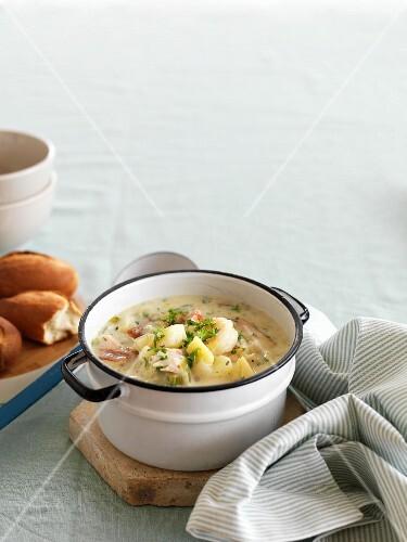 Potato soup with smoked fish