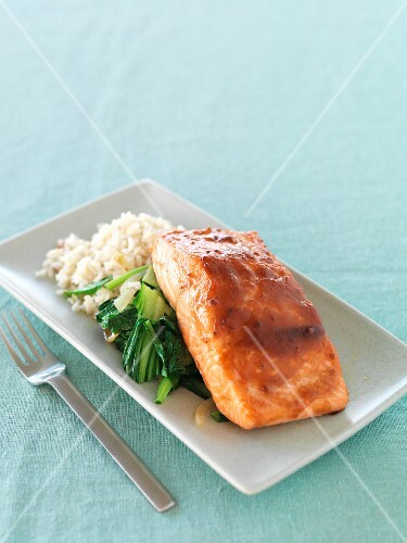 Salmon teriyaki with bok choy and rice