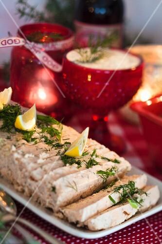 Salmon terrine for Christmas dinner