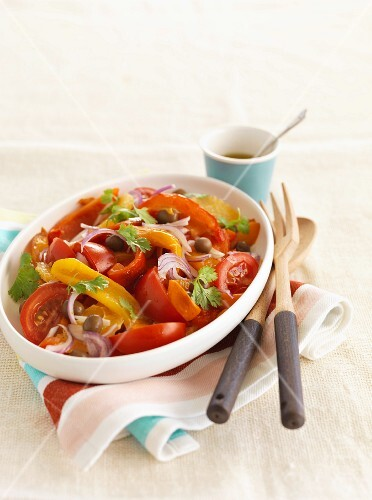 Pepper and tomato salad with olives and onions (Spain)