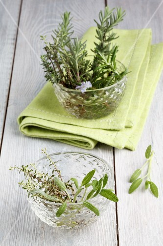 Fresh rosemary, thyme and sage