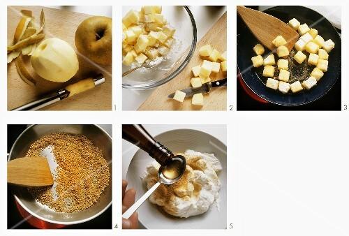 Preparing fried, diced apple with plum wine cream