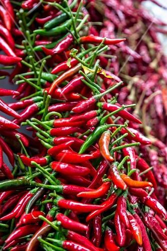 Chillis at a market, Amalfi coast, Italy