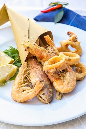 Fried seafood, Amalfi coast, Italy