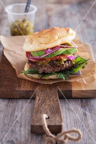 Cloud bread burger (carb-free roll)