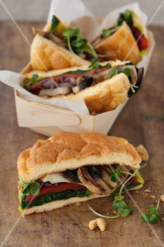 Cloud bread sandwiches (carb-free bread) with mushrooms