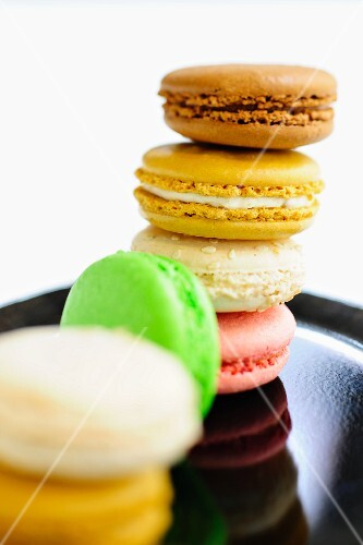 A stack of colourful macaroons