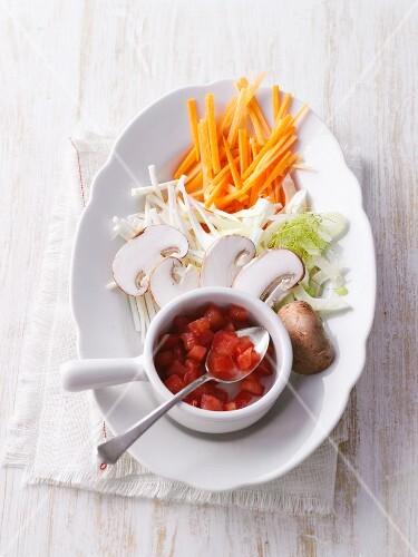 Sliced vegetables for adding to vegetable broth