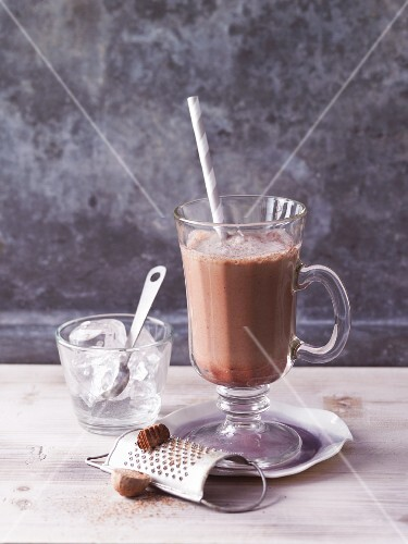 A mocha chocolate shake with nutmeg and cinnamon