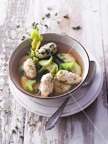 Green minestrone with Parmesan dumplings