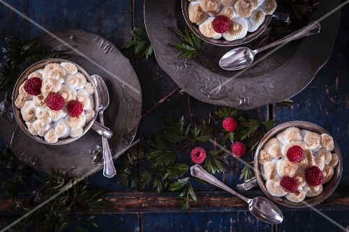 Queen of Puddings (bread pudding with coconut flour sugar and raspberries, England)