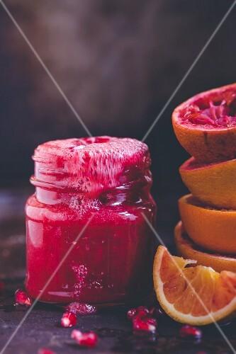 Pomegranate and blood orange smoothie