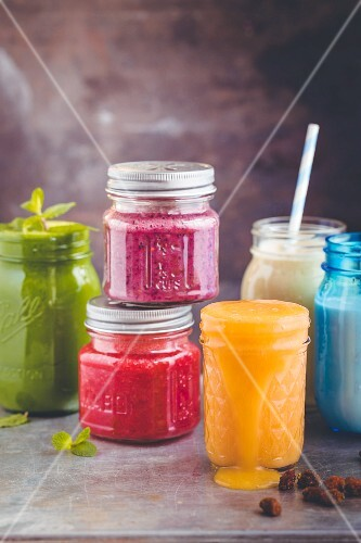 Assorted colourful smoothies