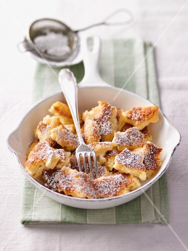 Kaiserschmarrn (shredded sugared pancake from Austria) in a pan