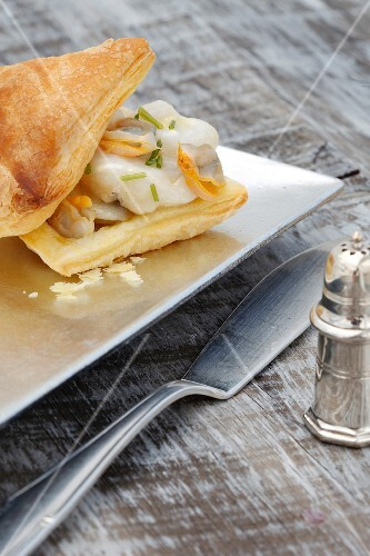 Cod and mussels in puff pastry
