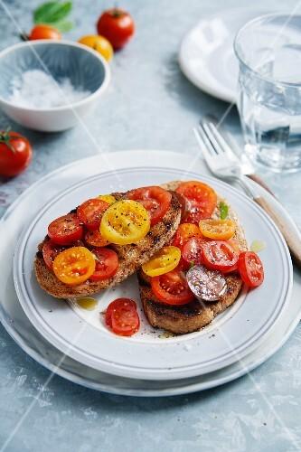 Bruschetta with mixed cherry tomatoes