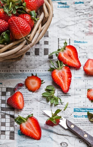 Strawberries on newspaper