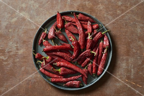 A plate of dried red chili peppers